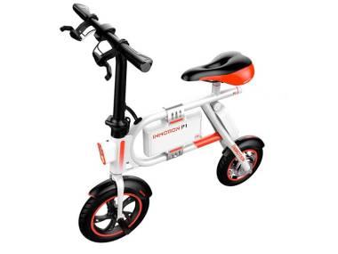 Bicicleta eléctrica Inmotion P1 blanca y naranja Electrónica