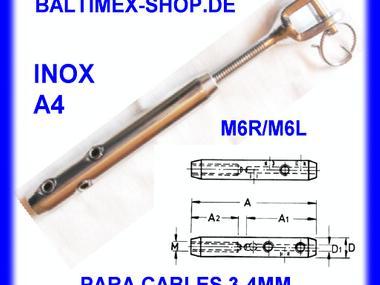 Terminal tensor m6 l con horquilla para cables de acero 3 for Tensores para cable