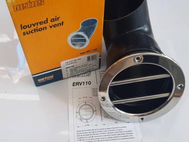 Válvula de aspiración de aire con rejilla INOX redonda diámetro 110mm. Vetus ERV 110 Confort a bordo