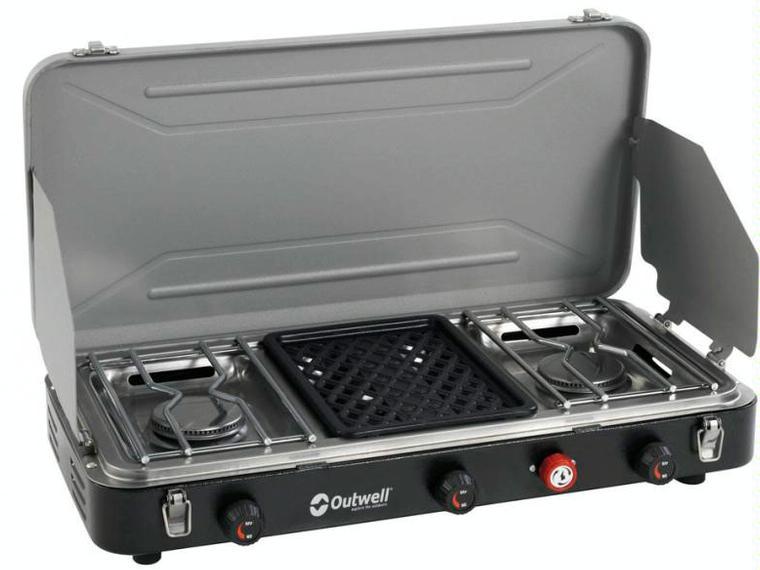 Outwell cocina camping premium 3 fuegos grill otros for Cocina camping gas carrefour