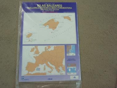 CARTA PLEGADA MALLORCA-MERNOR-IBIZA-FORMENT PAPEL HIDROF Navegación