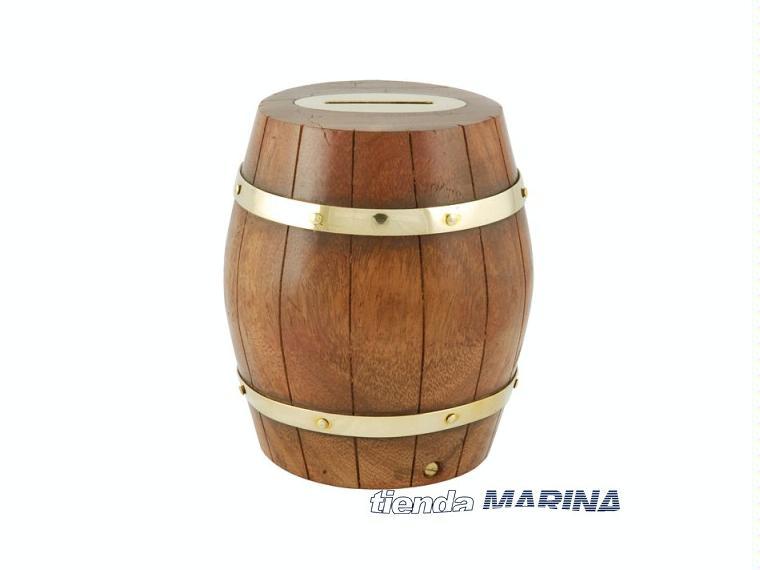 Hucha barril madera y bronce b992 otros 95310 cosas de for Bar barril de madera