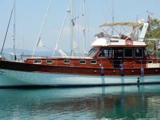 mahoney and teak boat